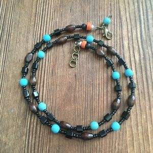 Men's Wood and Turquoise Beaded Necklace,  Jewelry